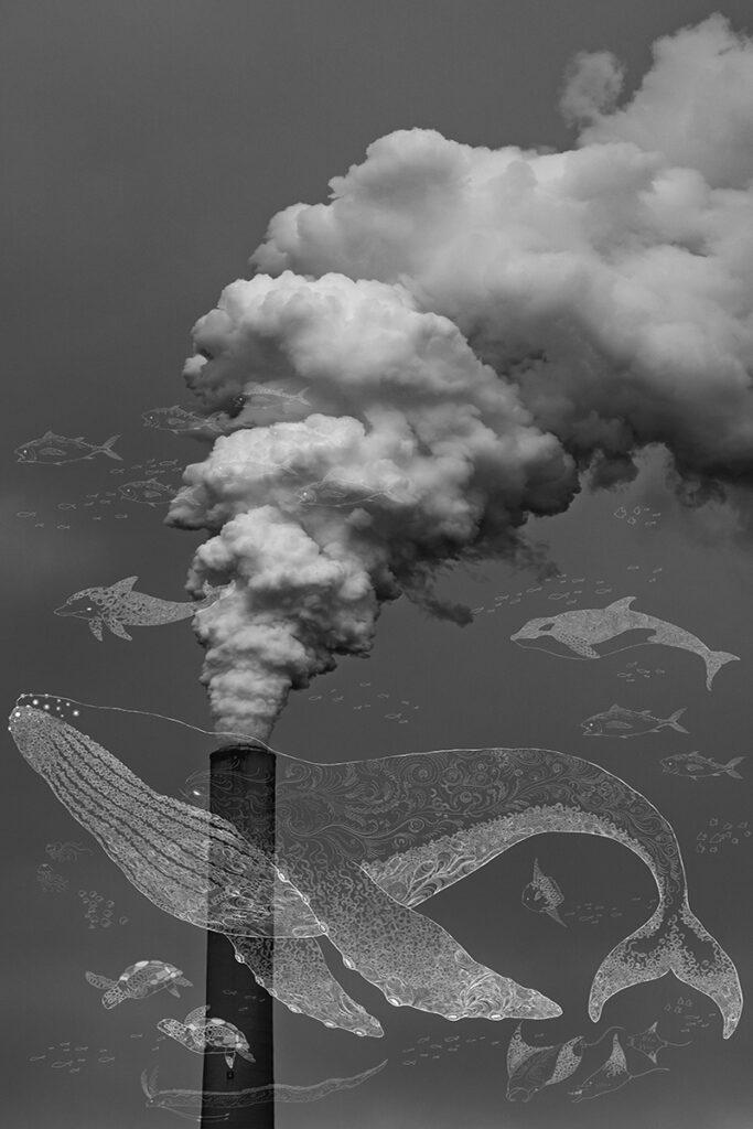 工場から出ている有害な煙も、私たち人間が環境のために努力すれば、その煙はクジラの潮になりうるかもしれない。 工場から出ている煙害を海に住む豊かな生き物たちとクジラの潮に変えて表現しました。