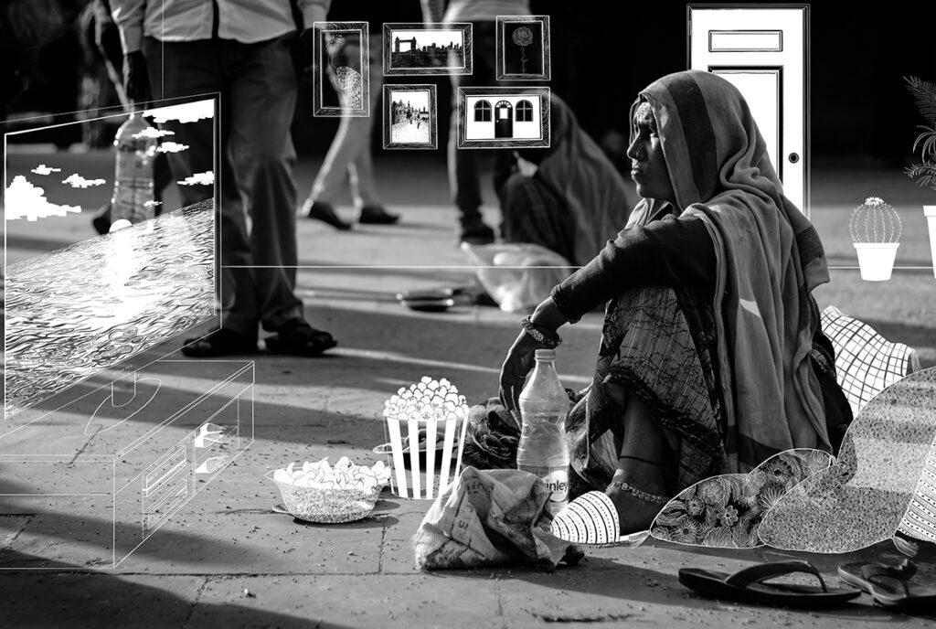 誰もが温かい場所でくつろげるように。 ホームレスの写真の上から暖かい家の様子を描きました。 どんな人にも平等に住む場所を与えられる社会を願って表現しました。