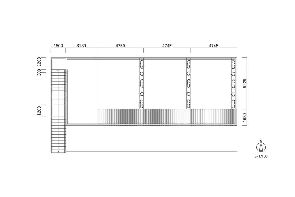 興津駅屋上 平面図 S=1/100