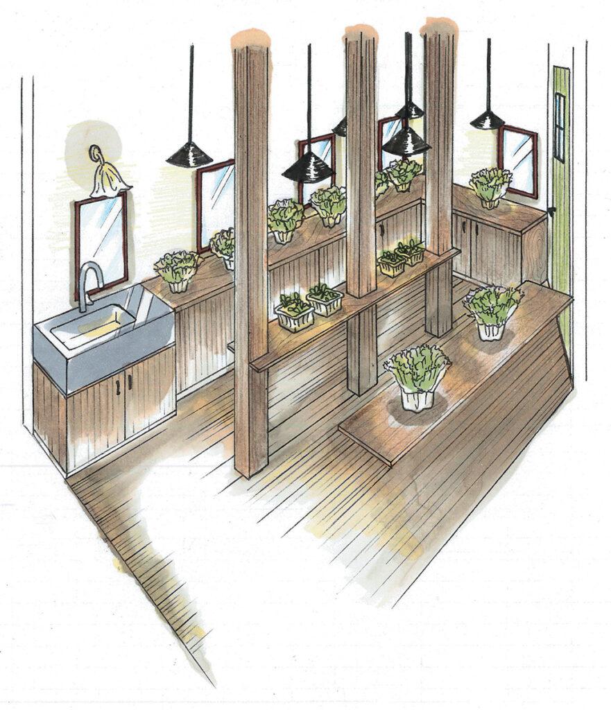 【一階にあるレタス室】レタスを水耕栽培する部屋。お手入れをスムーズにするため主寝室と廊下の両方から出入りが可能。