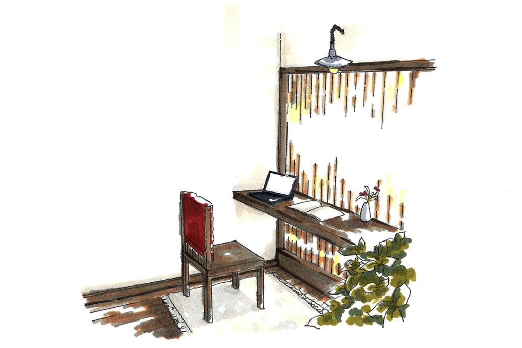 個室ワークスペース:浜名湖を一望できる。狭くしたことで他の部屋とのメリハリをつけた。
