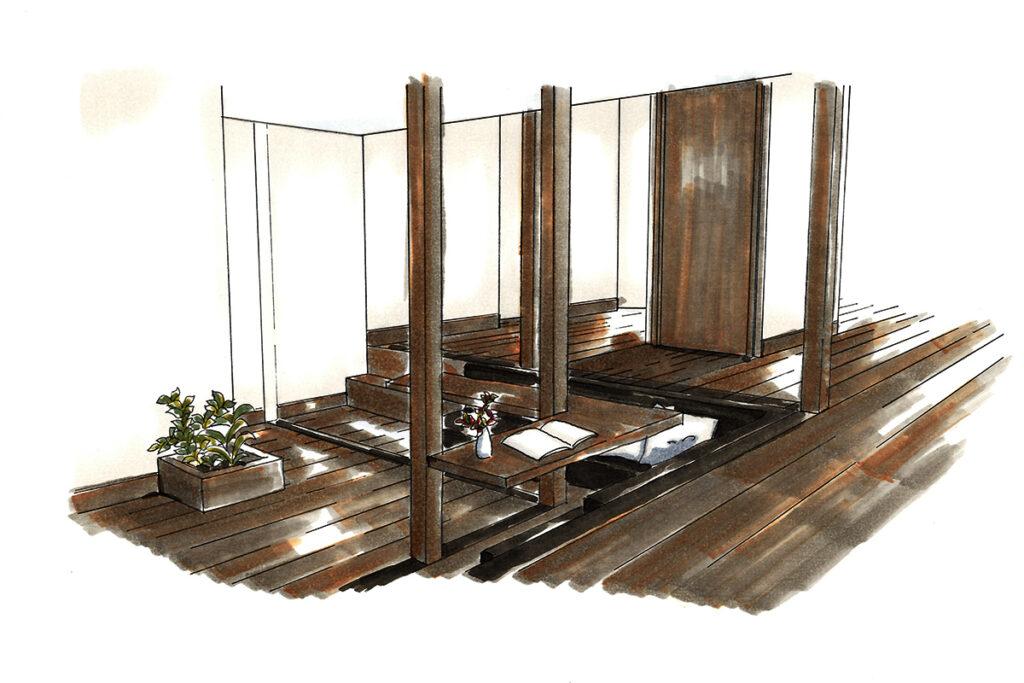 リビング兼ワークスペース:床を一段下げ、開放的な空間に。家族の交流の場でもある。