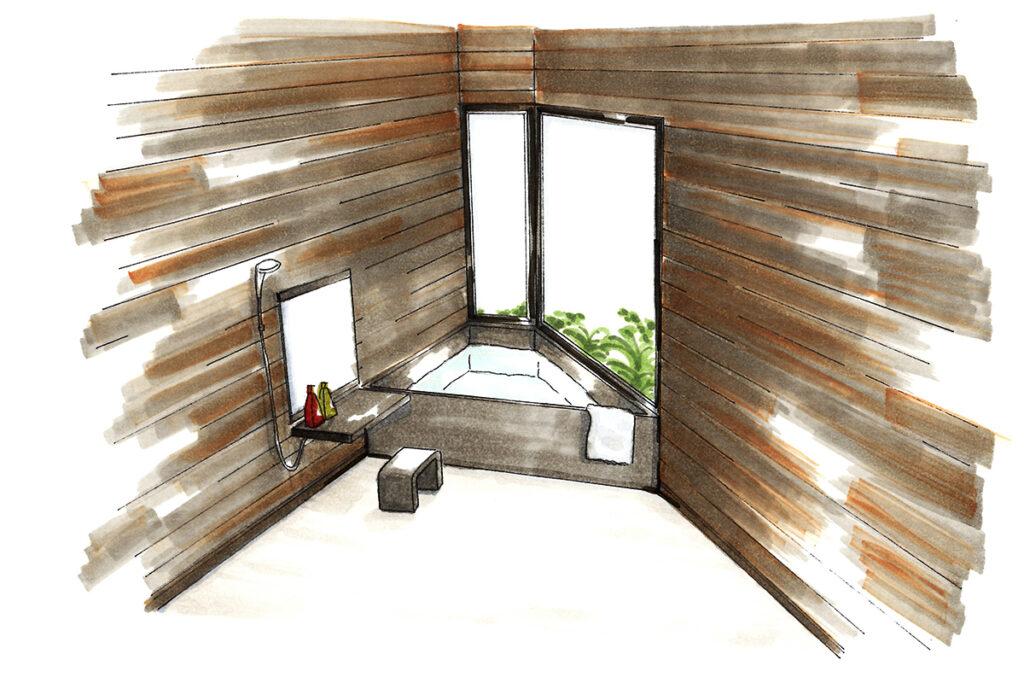 お風呂場:塀をつけたことで大きな窓がある露天風呂風のお風呂を実現。