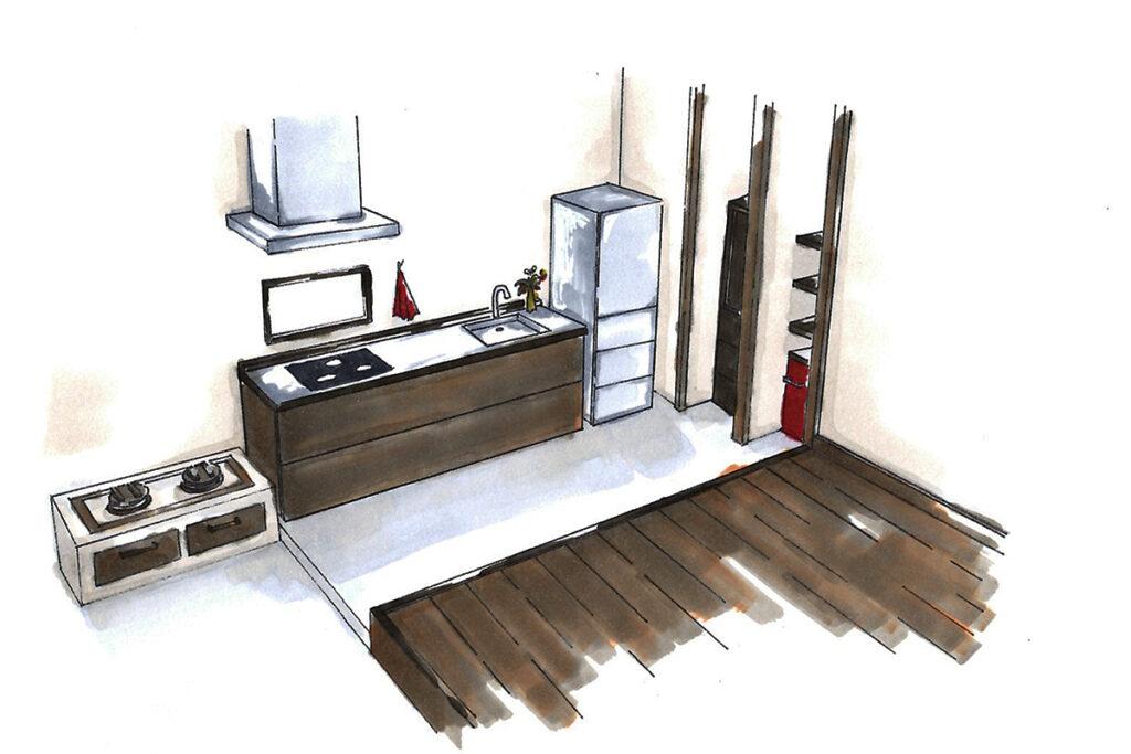 キッチン:釜戸を完備した土間空間。釜戸によって料理を家族皆で作るきっかけに。
