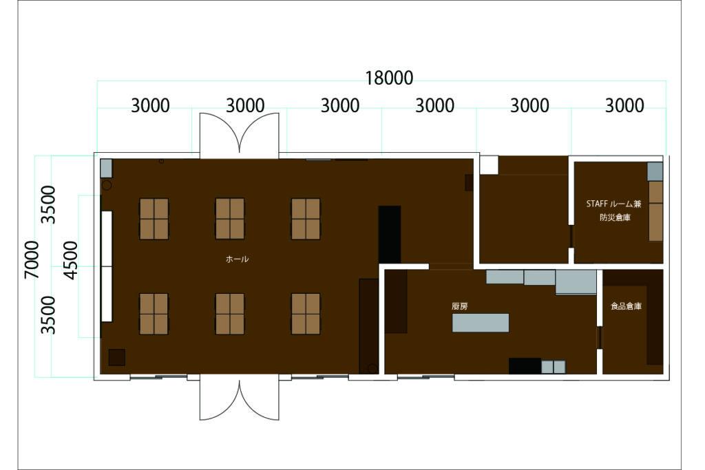 平面図。学校の教室の配置をそのまま活かした平面計画です。